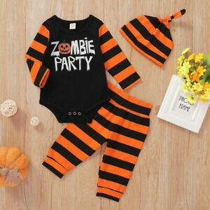 3pcs Baby Halloween Clothes Outfits Long Sleeve Romper Striped Pants Hat Set 100