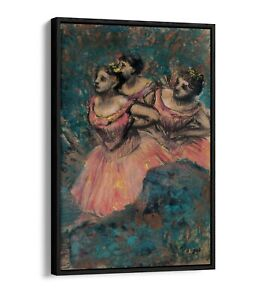 EDGAR DEGAS, THREE DANCERS -FLOATER EFFECT FRAMED CANVAS ART PRINT- PINK BLUE