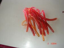 """New 14ct Red Fire 5"""" Curly Tail Hustler Style Worms Freshwater Fishing Finesse"""
