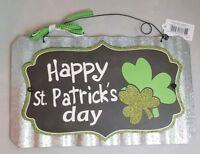 "Happy St. Patrick's Day Sign Metal Irish Green Clover Shamrock Wall Art 11""x7"""