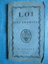 LOI SUR LES CHEMINS DU CANTON DE VAUD, 1811.