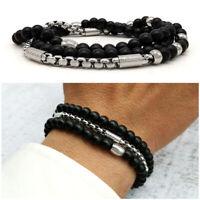 Bracciale uomo acciaio pietre dure in nero braccialetto con inox nero da catena