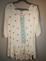 Umgee Hippie / Boho Embroidered Tunic / Top - Women's Size Medium (M) - Cream
