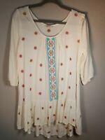 Umgee Hippie / Boho Embroidered Tunic / Top - Women's Size Medium (M) - Cream