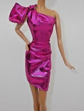 BARBIE THE LOOK CITY SHINE MODEL MUSE DOLL METALLIC PINK GOWN DRESS BLACK LABEL