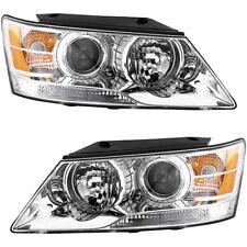 Headlights Headlight Assembly (w/Bulb) NEW Pair Set For 2009-2010 Hyundai Sonata