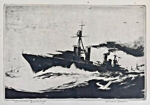 "Original Signed HOWARD FRECH Etching WWII USN Battle Ship American ""Watchdogs"""