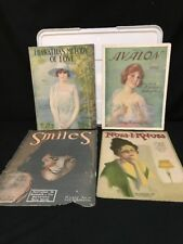 Antique Sheet Music Hand Drawn Images of Women 1917, 20, 20, and 29