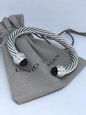 David Yurman 925 Silver 7mm Classic Black Onyx & Diamond Cuff Bracelet