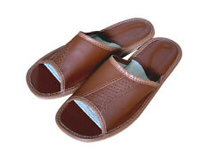 Indoor Brown Men Shoes Geneuine Leather Slippers open toes for Man sizes 7-12