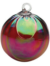 Glass Eye Studio RUBY DRAPED Hand Blown Art Glass Round Ornament 148L