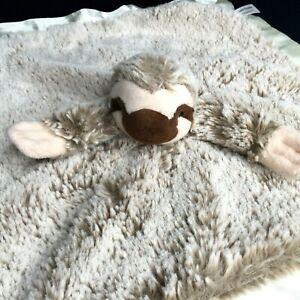 Treasure Trades Tan Sloth Security Blanket Plush Velour Baby Lovey Cream Satin