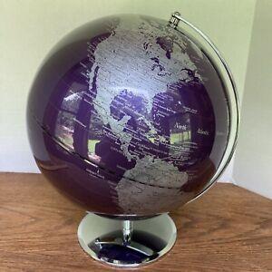 "ZGallerie Z Gallerie World Globe 12"" Purple Aubergine with Chrome Base"