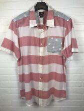 Quiksilver Size XXL Men's America USA Shirt Red Stars Stripes 100% Cotton