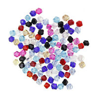 100pcs 4*3mm Faceted Bicone Crystal Glass Loose Spacer Beads For Jewelry Making