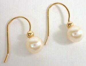 Designer SOLID 14k Yellow Gold Ball & 6mm Cultured Pearl Dangle Drop Earrings