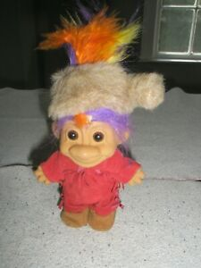 "Frontiersman TROLL w/ Buck Skin clothes moccasins & coon skin hat 6"" Russ"