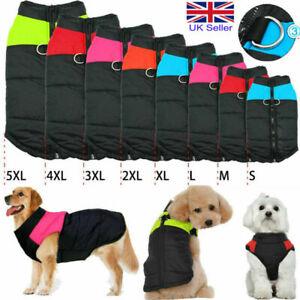 1x Big Pet Dog Cat Waterproof Clothes Coat Jacket D-Ring Warm Winter Padded Vest