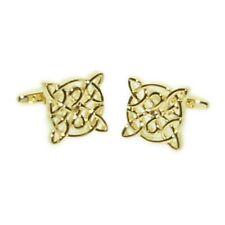 Celtic Design Gold Plated Cufflinks Irish Scottish Symbol Present Gift Box