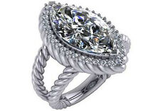 6.35 ct E SI2 natural marquise round diamond halo engagement ring 14k white gold