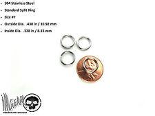 4X Stainless Steel Key Chain Split Ring .43 in / 10.92 mm OSD #7 LOT OF 4 RINGS