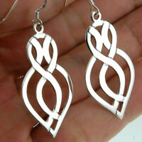 Long & Thin, Large Celtic Knot Silver Earrings, Plain Solid Silver, ep132
