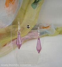 Pretty Purple Clear Faceted Tear Drop 30 mm Bead Dangle Pierced Earrings