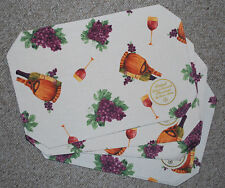 SET 4 WINE/GRAPES/VINEYARD/VINYL DAMASK PLACEMATS,WATER REPELENT/WIPE OFF NWT