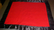 HAND CRAFTED BRICK RED FLEECE MINI BLANKET 18 X 20 W/BLACK WRIGHTS SATIN BINDING