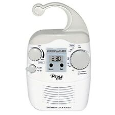 NEW Pyle PSR6 Shower Radio Digital Waterproof Hanging Shower AM/FM Radio Clock