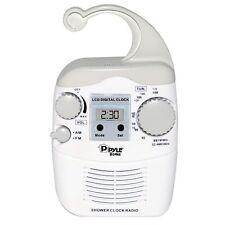 NEW Pyle PSR6 Shower Radio Digital Waterproof Hanging Shower AM/FM Radio Clock