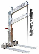 Krangabel Ladegabel KL12HV Alu-64kg Eig.gewicht*Höhenverstellbar* Palettengabel
