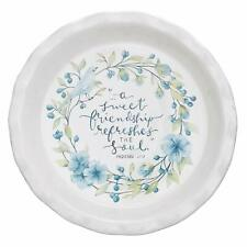 A Sweet Friendship Blue Floral Ceramic Pie Plate, 9.5 Inch Pie Pan Baking Dish