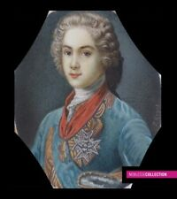 ANTIQUE 1900s FRENCH MINIATURE PAINTING WATERCOLOR Portrait of young Louis XV