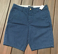 NEW Abercrombie & Fitch Shorts Khaki Shorts Classic Fit sz 32 Striped Navy Blue