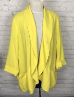 Soft Surroundings Cardigan Jacket Yellow Open Front Draped Pockets Sweater 2X