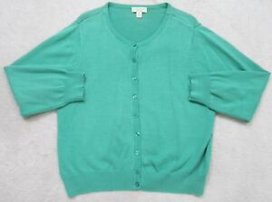 Appleseed's Sweater Green Long Sleeve Crewneck PXL Petite Extra Large Cotton