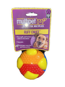 Multipet Ruff Enough Theo Multicolor Squeaker Ball Dog Toy