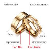 Mujer Hombre Anillos De Boda Compromiso Amor 18K Plateado Anillo  zirconia Ring
