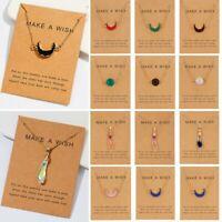 Natural Stone Moon Waterdrop Pendant Necklace Choker Chain Card Women Jewelry