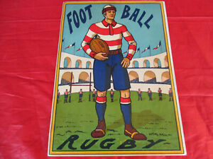 RUGBY FOOT-BALL AFFICHE  RETRO CHROMOLITHOGRAPHIE CIRCA 1900 SUPERBE