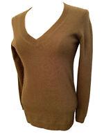 XS J.Crew Women's Khaki Green Navy Blue V-Neck Sweater Long Sleeve Merino Wool B