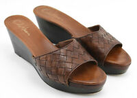 WOMENS SIZE 9 B COLE HAAN WEDGE HEELS SANDALS SHOES BROWN WOVEN LEATHER STRAP