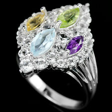 Natural AMETHYST, PERIDOT, CITRINE & TOPAZ Stones 925 STERLING SILVER RING S8.25