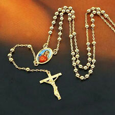 Lucky 9K Gold Filled Rosary Pray Bead Blessed Mary Cross Necklace 24 INCH,Z1949