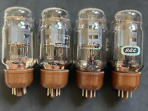 RARE STRONG MATCHED QUAD OF GEC MARCONI KT66 CLEAR GLASS BROWN BASE