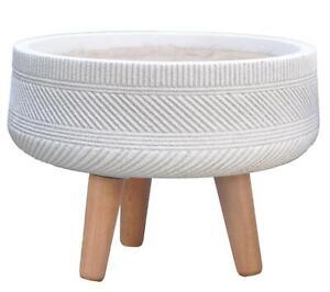 IDEALIST Striped Tray Round Indoor Planter with Legs