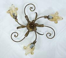 Lampe de plafond lumière LED en fer battu forgés art.l12 verre rustique CRISTAL MURANO