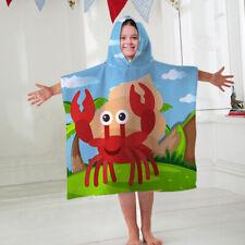 Kids Hooded Towel Poncho Cartoon Crab Design Childrens Bathrobe Swim Bath Sun