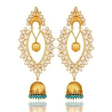 18K Gold Plated Sterling Silver Turquoise Ethnic Jhumka Earrings Jewelry